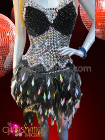 CHARISMATICO Silver and Black Sequin Diva Dance Dress With Flame-Ruffled Organza Skirt