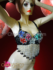 CHARISMATICO Floral Patterned Black Sequined Belly Dancing Bra With Silver Beaded Fringe
