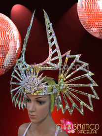 CHARISMATICO Silver Mirror Tile Accented Golden Madonna's Superbowl Inspired Diva's Headdress