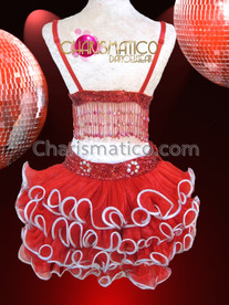 CHARISMATICO Three Piece Red Bra, Belt And Tail-Skirt Mambo Salsa Dance Dress