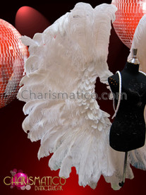 CHARISMATICO Pure Stunning Angelic Showgirl'S Soft White Ostrich Feather Backpack Wing