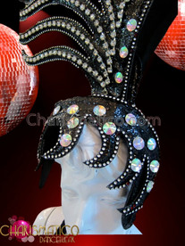 CHARISMATICO Diva's Drag Queen Asymmetrical Iridescent Crystal Embellished Black Fancy Headdress