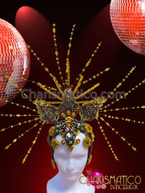 CHARISMATICO Diva's Exotic Metallic Gold Beaded and Amber Accented Spike Headdress