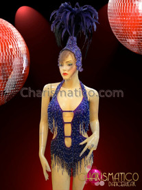 CHARISMATICO Midnight Purple Diva Showgirl Headdress and Beaded Fringe Dance Leotard