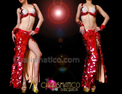 CHARISMATICO Exotic White Accented Metallic Red Jumbo Sequin Belly Dance Costume
