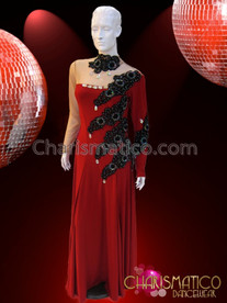 CHARISMATICO Sheer High Necked Red Ballroom Gown With Black Beaded Appliquã© Accents