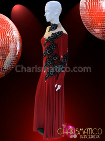 CHARISMATICO Sheer High Necked Red Ballroom Gown With Black Beaded Appliqué Accents