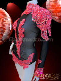 CHARISMATICO Shimmering Black Showgirl'S Dance Leotard With Beaded Red Appliquã© Accents