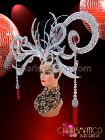 CHARISMATICO Ruby And Crystal Accented Mirrored Silver Bead Swirled Showgirl Headdress