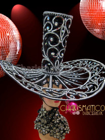 CHARISMATICO Crystal Adorned Open Work Silver And Black Swirl Oversize Top Hat