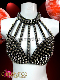 CHARISMATICO Black Vinyl Silver Spiky Corset Bra and Belt Skirt With Beaded Fringe