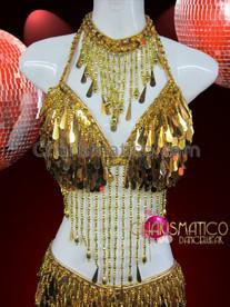 CHARISMATICO Teardrop Metallic Gold Sequin Fringe Two Piece Belly Dance Dress