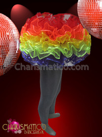 CHARISMATICO Gay Pride Rainbow Ruffle Tulle Tutu Skirt With Satin Edge