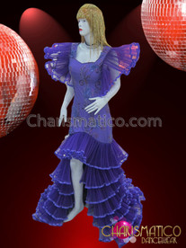 CHARISMATICO Wing Ruffled Sequin Embellished Purple Drag Queen Tiered Skirt Gown