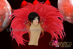 CHARISMATICO Beautiful Gold and Red Beaded Fiery Red Feather Backpack Collar
