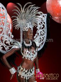 CHARISMATICO Metallic Silver Mirror Tile Diva Swirled Armor Cabaret Costume Set
