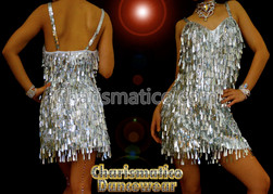 Silver Sexy Sequin Showgirl Dance Dress