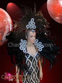 CHARISMATICO Silver Circle Trimmed Black Brazilian Diva Headdress And Collar Set
