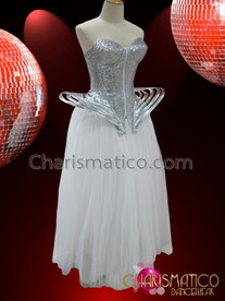 CHARISMATICO Futuristic Metallic Silver Gaga Corset And Long Ball Skirt Dress