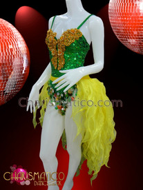 CHARISMATICO Ornate Golden Beaded Appliquã© Accented Green Sequin Leotard And Yellow Tail