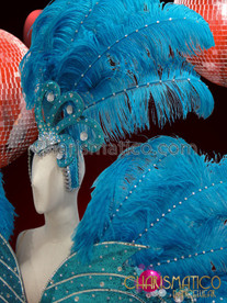 CHARISMATICO Sky Blue Ostrich Plumes With Crystal Accent Diva'S Cabaret Costume Set