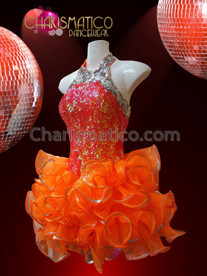 CHARISMATICO Lovely Iridescent Orange And Metallic Silver Sequin Organza Tutu Dress