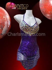 CHARISMATICO Iridescent Crystal Accented Shimmering Rich Purple Beaded Fringe Sequin Leotard
