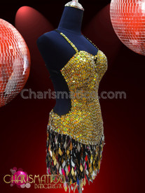 CHARISMATICO Silver Bead Accented Metallic Iridescent Gold Sequin Fringe Dance Dress