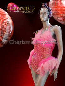 CHARISMATICO Iridescent Sequined Blush Pink Feather Dress With Long Beaded Fringe