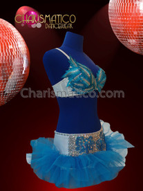 CHARISMATICO Silver Sequin Embellished Blue Feather Bra With Matching Beaded Skirt