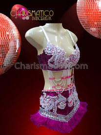 CHARISMATICO White Beaded Intense Fuchsia Sequined Bra With Matching Belt Skirt