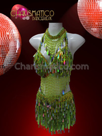 CHARISMATICO Two Piece Iridescent Lime Green Teardrop Sequin Beaded Fringe Dress