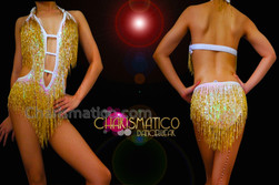 CHARISMATICO Iridescent White Sequined Metallic Gold Beaded Fringe Latin Dance Leotard