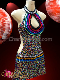 CHARISMATICO Diva's Rainbow Crystal Accented Multi-Color Shimmering Sequin Latin Dance Dress