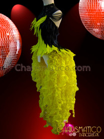 CHARISMATICO Yellow and Black Feather Corset, Headdress, Gothic Necklace, and Organza Tail-Skirt