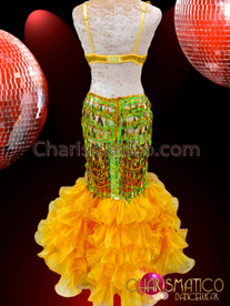 CHARISMATICO Two-Piece Golden Sequin With Green Accents Yellow Organza Ruffle Dress