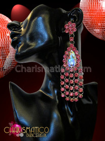 Charismatico Elegant Iridescent Crystal Centered Intense Pink Rhinestone Cluster Chandelier Earrings