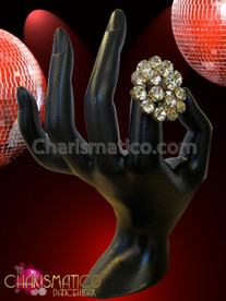 CHARISMATICO Large Flashy Flower Shaped Fiery Rhinestone Cluster Diva'S Crystal Ring