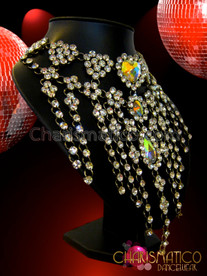 CHARISMATICO Rhinestone Fringed Heart Cluster Choker Style Iridescent Crystal Diva Necklace
