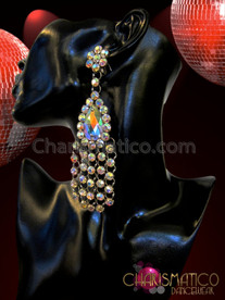 CHARISMATICO Rhinestone Cluster Accented Iridescent Teardrop Crystal Drag Queen'S Chandelier Earrings