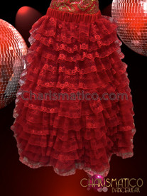 CHARISMATICO Two-Piece Corset And Tier-Ruffled Lace Full Skirt Red Pageant Gown
