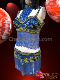 CHARISMATICO Metallic Bead Accented Blue Sequin Belly Dance Bra and Belt