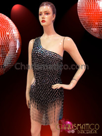 CHARISMATICO Asymmetrical Black Sequin Leotard With Silver Accented Seed Bead Fringe