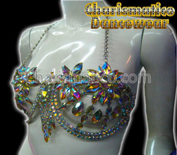 Flower Crystal Burlesque Show Girl Bra Thong
