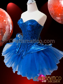 CHARISMATICO Metallic Royal Blue Sequined Gaga Corset and Net Ruffled Tutu