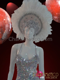 CHARISMATICO White Feather Headdress With Silver Bead Trim and Crystal Accents