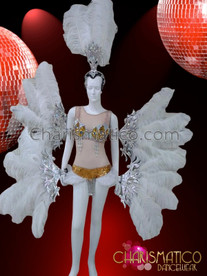 CHARISMATICO Silver Accented White Ostrich Showgirl Headdress With Matching Arm Fans