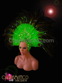 CHARISMATICO Neon Green Cap Style Feather Headdress With Natural Feather Accents