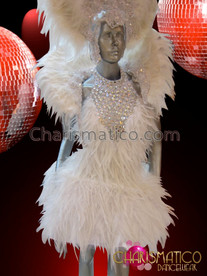 CHARISMATICO White Crystal Accented Swan Feather Costume