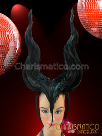 CHARISMATICO Wicked Black Shimmering Raven Feather Maleficent Headdress With Wavy Horns